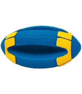 jouets canins sonores Jouet chien ballon rugby sonore bleu et jaune Martin Sellier 9,00€