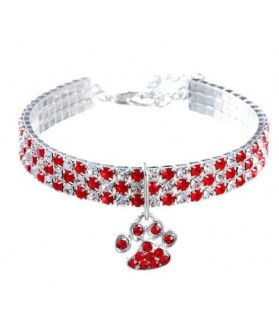 Collier chat strass rouge...