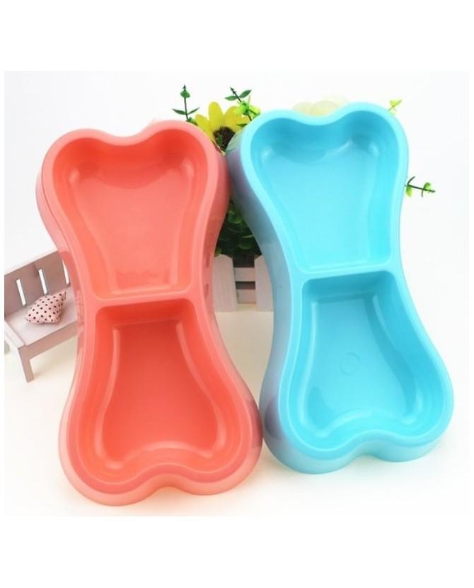 Gamelles plastiques pour chien ou chiot Gamelle double os bleu ciel  6,00€