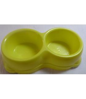 Gamelles plastiques pour chien ou chiot Double gamelle plastique jaune  6,00€
