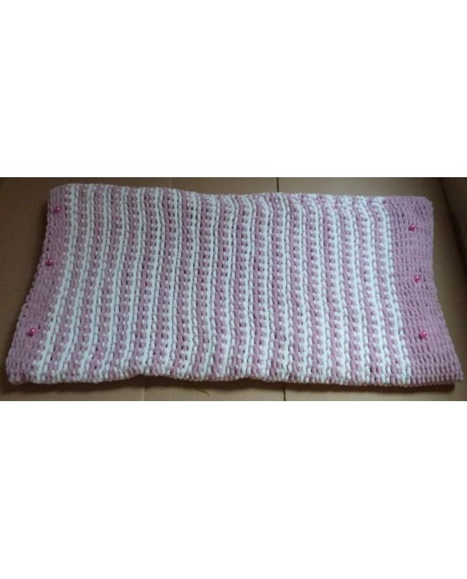 couvertures pour chat couchage chat - couverture pour chat rose et blanc Perlette Chez Anilou 26,00€