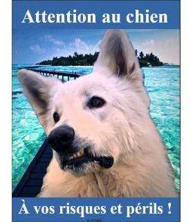 Pancartes Berger blanc suisse Pancarte chien de garde berger blanc suisse 2PB Chez Anilou 15,00€