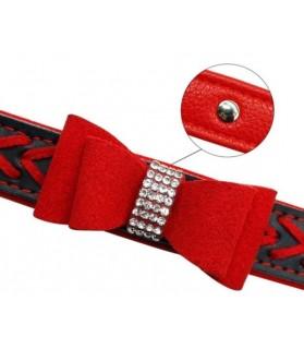 Colliers simili et cuir Collier chien Noeud papillon en rouge et noir Chez Anilou 11,00€